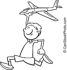 boy and toy plane coloring book