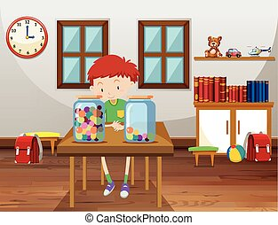Boy and two jars with marbles in classroom illustration