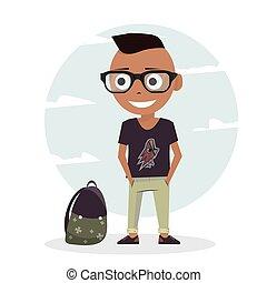 boy., animation., werken, karakter, illustratie, ontwerp, pupil, mal