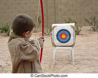 Boy Archer Three - Boy shooting arrow at target