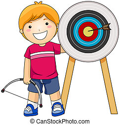 Boy Archer with Clipping Path