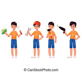 Boy as mechanic, repairman holding screwdriver, hammer, drill, wrench