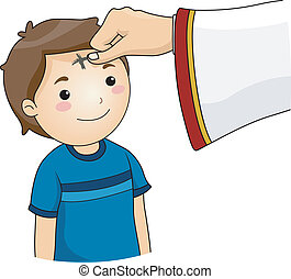 Illustration of a Boy having a Cross Mark on his Forehead for the observance of Ash Wednesday
