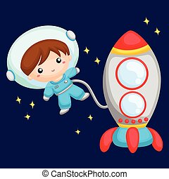 Boy astronaut at outer space