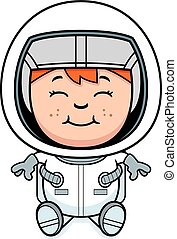 Boy Astronaut Sitting