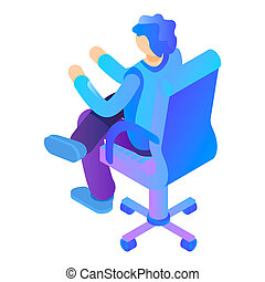 Boy at armchair icon, isometric style