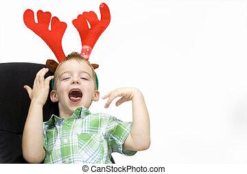 boy at christmas time