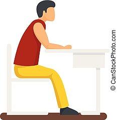 Boy at school icon, flat style