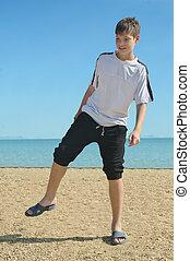 boy at the beach,