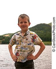 boy at the lake
