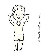 boy avatar cartoon character black and white