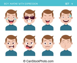 Boy avatar with expressions