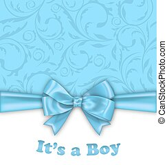 Boy Baby Shower Invitation Card with Blue Bow Ribbon