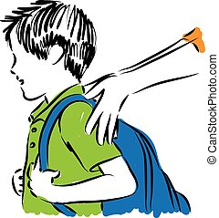 boy back to school illustration