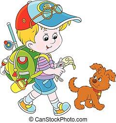 Boy backpacker - Vector illustration of a little boy walking...