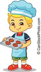 Boy Baking Chocolate Cookies.