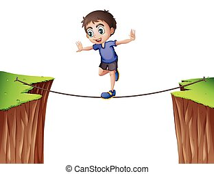 Boy balancing on the rope
