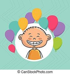 boy balloons party cartoon