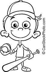 boy baseball player coloring page
