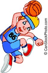 boy basketball player - illustration of boy basketball...