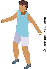 Boy basketball player icon, isometric style