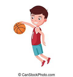 Boy basketball player jumps with the ball