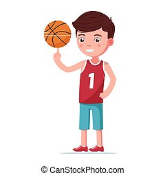 Boy basketball player spin the ball on finger