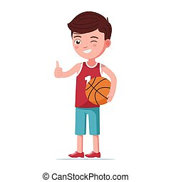 Boy basketball player stands with the ball