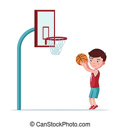 Boy basketball player throws ball in the basket