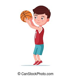 Boy basketball player throws the ball in basket