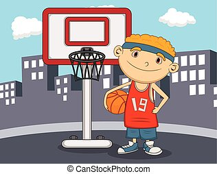 Boy Basketball player with city