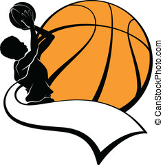 Boy Basketball Shooter with Pennant - Vector illustration of...