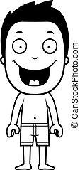 Boy Bathing Suit - A cartoon illustration of a boy in a...