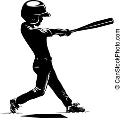 Boy Batting in a Baseball Game Silhouette - Silhouette of a...