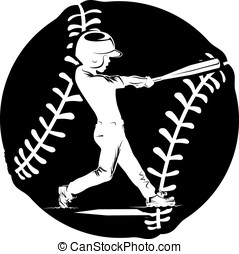Boy Batting Silhouette In Baseball - Silhouette of a young...