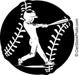 Silhouette of a young boy hitting a home run inside a baseball background.