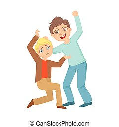 Boy Beating Up Smaller Kid Teenage Bully Demonstrating Mischievous Uncontrollable Delinquent Behavior Cartoon Illustration