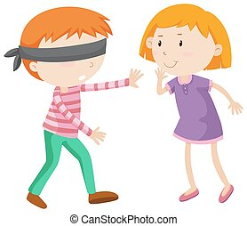 Boy being blind folded illustration
