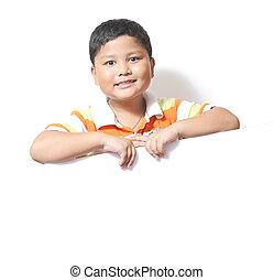 Boy beside a white background