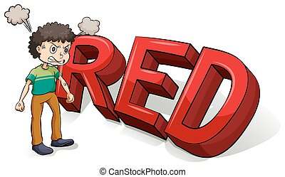 Boy beside the big red letters