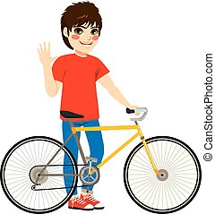 Boy Bicycle Standing