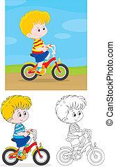 Boy bicyclist - Little boy riding a bike on rural road,...
