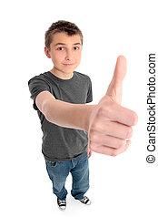 Boy big hand thunbs up