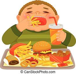 Boy binge eating junk food - Overweight boy mindlessly...