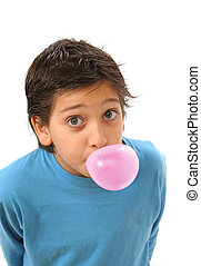 Boy blowing a pink bubble gum - Bubble gum boy portrait with...