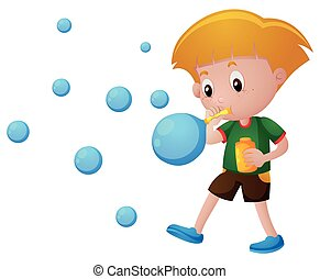 Boy blowing bubbles alone illustration