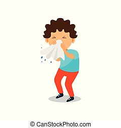 Boy blowing her nose with a tissue, kid caught a flu vector Illustration on a white background