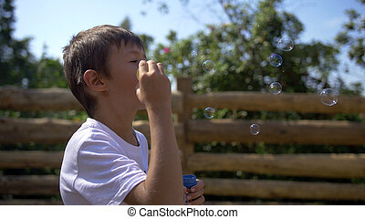 Boy Blowing Soap Bubbles Outdoors, have fun