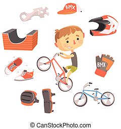 Boy BMX Bike Rider, Kids Future Dream Professional Occupation Illustration With Related To Profession Objects