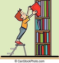 Boy book library reading